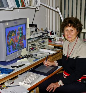 Ina Gilbert at computer