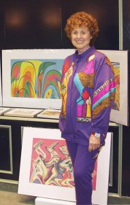Ina Gilbert with some of her work